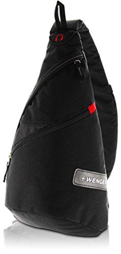 WENGER® Premium Slingbag für Damen und Herren, 10 Liter, Sling Rucksack Schultertasche in Schwarz mit grauem Innenfutter