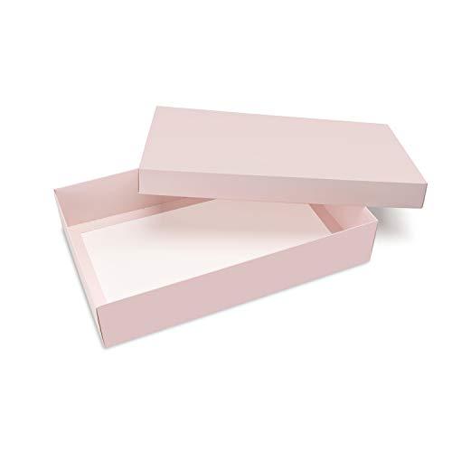 Caja para regalo 40 x 25 x 8 cm caja de cartón caja rosa con tapa, set de 10 cajas para fiesta cumpleaños, embalaje, estuche, empaquetamiento para envolver (Rosa)
