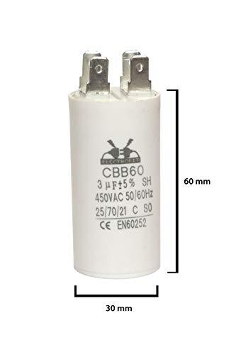 ELECTROFIT CBB60 3 uF 450V bedrijfscondensator motor start condensator voor airconditioning, compressoren en elektromotoren