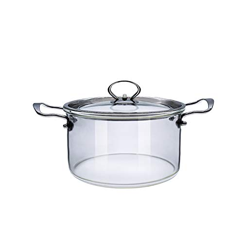3.5 L Glass Saucepan With Cover Glass Cookware Set with Handle & Steam Hole For Pasta Noodle, Soup, Milk, Baby Food