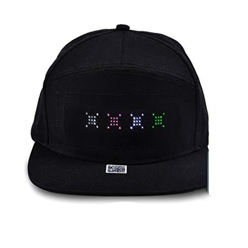 Hip Hop Sombreros para Hombres Mujeres Bluetooth LED Sombrero Programable Crédito Papel Mensaje Pantalla Tablero Béisbol Hip Hop Fiesta Golf Cap