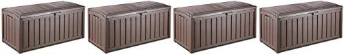 KETER Glenwood Plastic Deck Storage Container Box Outdoor Patio Furniture 101 Gal, Brown (Fоur Расk)