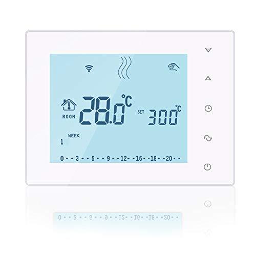 Beok BOT-X306 Termostato inalámbrico programable para caldera de gas con batería y pantalla táctil grande y receptor, blanco