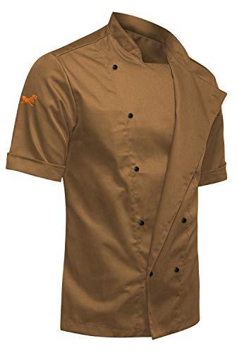strongAnt Giacca da Cuoco Maschile | Uniforme Professionale da Cuoco in 50% Canapa 50% Cotone, Taglio Moderno Slim Fit, Maniche Lunghe | Marrone S