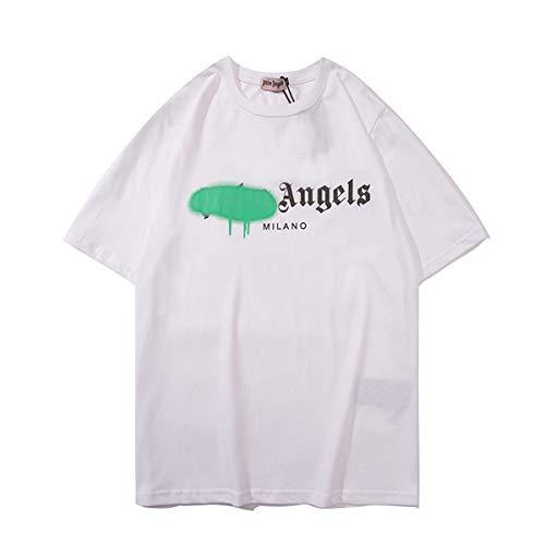 AYUSHOP Camiseta y de PalmAngels T-Shirt Mujeres de los Hombres, MangaCorta Camiseta para la Primavera y Verano, Camiseta de Manga Corta de Aerosol clásico de la impresión Alfabeto Pintura,Blanco,S