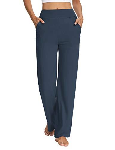Sarin Mathews Womens Yoga Sweatpants Bootcut Loose Comfy Lounge Wide Leg Pants Workout Joggers Pants with Pockets Navy XL