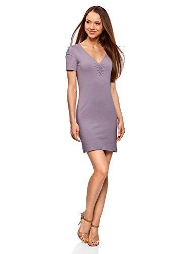oodji Ultra Damen Enges Kleid mit V-Ausschnitt, Violett, DE 36 / EU 38 / S