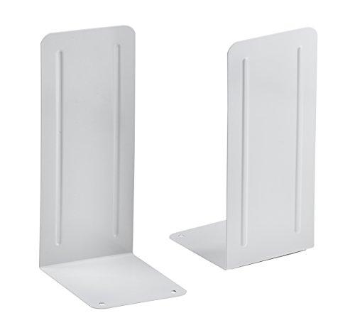 "Acrimet Jumbo Premium Metal Bookends 9"" (Heavy Duty) (White Color) (1 Pair)"