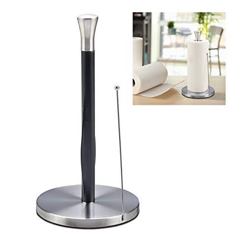 Relaxdays Küchenrollenhalter stehend, Edelstahl, Papierrollenhalter für die Küche, HxD: 33 x 17 cm, silber/schwarz