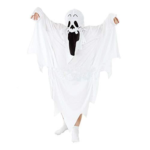 GenericBrands Disfraz de Fantasma de Halloween Tnica con Cabeza aterradora Adultos Nios Cabo Zombie Cosplay Disfraces de Disfraces Capa White Devil Soul Dress Set Masquerade