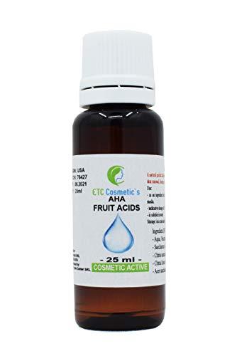 AHA FRUIT ACIDS | AHA FRUITZUREN - 25 ml - peeling van de huid | Gebruik als ingrediënt in cosmetische formuleringen: crèmes, lotions, gels, maskers, toners, serums op waterbasis, haarverzorging