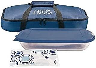 Anchor Hocking Oven Basics 4 Piece Bake-N-Take Bakeware Set, Navy Blue