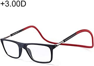 SGJFZD Anti Blue-ray Adjustable Neckband Magnetic Fashion Design Connecting Presbyopic Glasses, 3.00D (Color : Red)