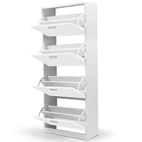 IDMarket - Meuble à chaussures 4 portes blanc