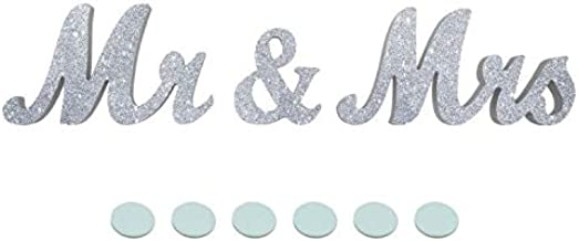 JZHY Mr & Mrs Sign Wedding Sweetheart Table Decorations, Decorative Letters for Photo Frame Home Decoration and Wall Décor (Silver)