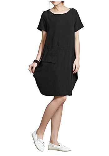 Anysize Spring Summer Soft Linen Cotton Lantern Loose Dress Plus Size Clothing Y18 Black
