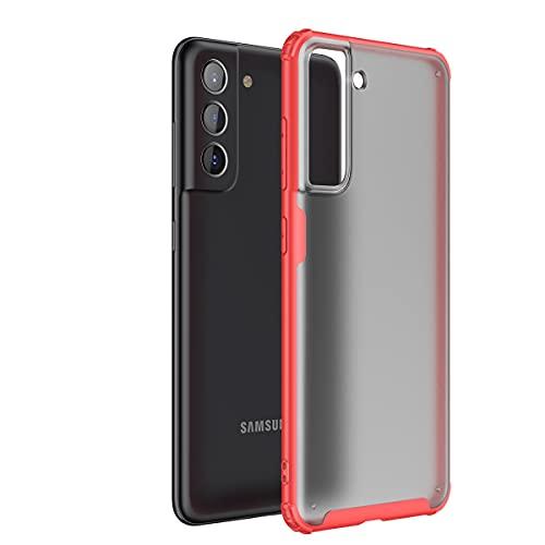 Hauw Funda para Samsung Galaxy S21 FE Caso,Cubierta Protectora Esmerilada Translúcida,Parte Posterior de PC y Cubierta Posterior de Borde Suave de TPU para Samsung Galaxy S21 FE,Rojo