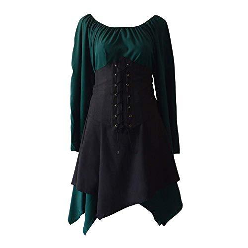 FYMNSI - Cors de Estilo Victoriano Vintage para Mujer, diseo de Renacimiento Medieval, Dobladillo Irregular, Vestido Corto gtico, Princesa, Cosplay, Celta