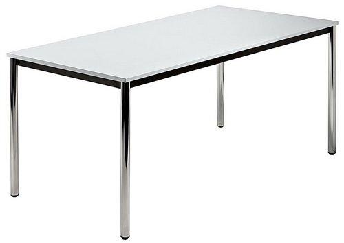 Unbekannt Konferenztisch mit Rund-Rohr Chrom Doran 160 x 80cm Grau