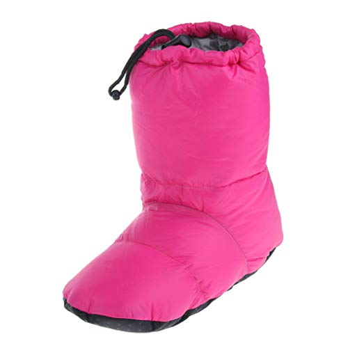 lahomia White Goose Down Pantuflas Invierno Cálido Tienda de Campaña - Rosa roja XL, 35-47 - Rosa roja XL, 35-47