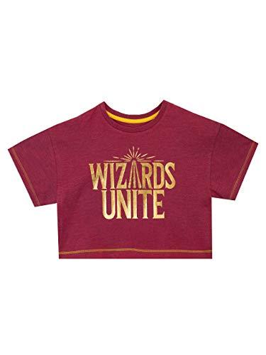 HARRY POTTER Maglietta T-Shirt Crop Maniche Corta per Ragazze Wizards Unite Rosso 5-6 Anni