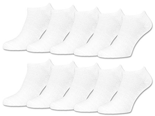 sockenkauf24 10 | 20 | 30 Paar Sneaker Socken Damen und Herren Schwarz und Weiß Baumwolle (39-42, 10 Paar | Weiß)