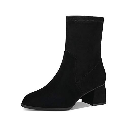 Zomgener Lederstretchstiefel mit spitzer Spitze, mittlerem Absatz und mittlerem Schlauch Martin Stiefel, Socken, Stiefel, dünne und dünne Stiefel, Kurze Stiefel -40_ schwarz (Single)