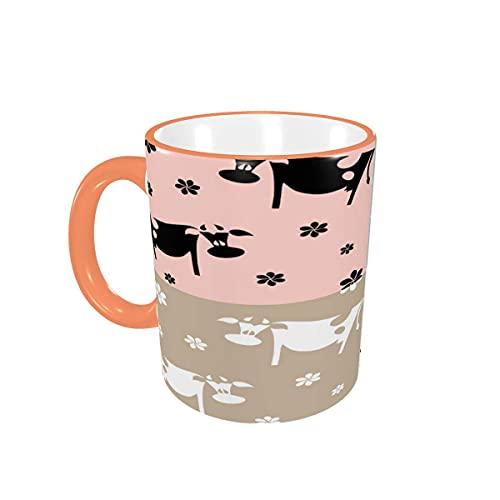 Taza de café Leche Animal Vaca Flores Dibujos Animados Lindas Tazas de café Tazas de cerámica con Asas para Bebidas Calientes - Latte, Tea, Cocoa, Coffee Gifts 12 oz,Pink