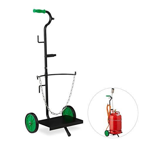 Relaxdays 10029460 Gas Transportwagen, Transportkarre für 5 & 11 kg Gasflaschen, Propan, Vollgummireifen, Stahl, schwarz/grün