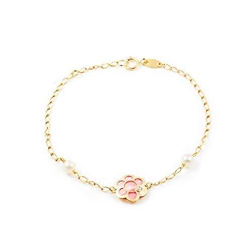 Damen & Kinder Blume mit rosa Perlmutt Armband - Gelbgold 9 Karat (375)