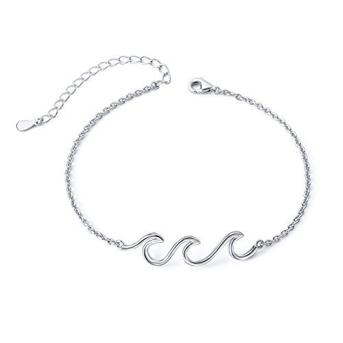 Wave Ocean Beach Sea Anklet for Women S925 Sterling Silver Adjustable Ankle Foot Bracelet Plus 12 Inch