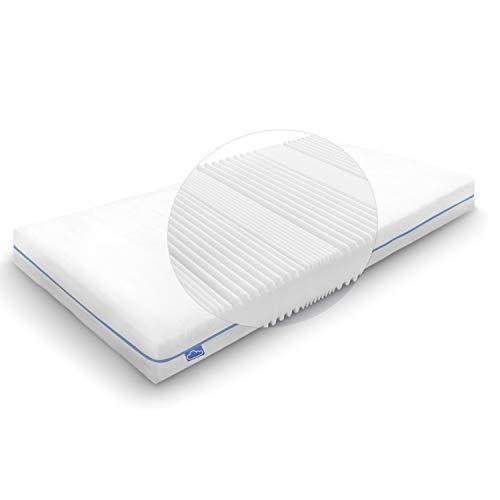 Wolkenwunder Wellflex Maxi 19 cm 7-Zonen-Schaum-Matratze 90x200 cm mittel I Bezug waschbar I hygienisch I pflegeleicht I div. Größen (19 cm Gesamthöhe, 90 x 200 cm)