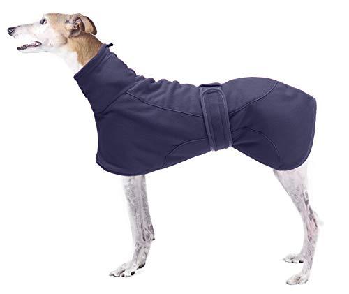 Morezi Windhundemäntel mit reflektierender Leiste, Hund Warme Kleidung Weiches Polyester-Fleece, Verstellbares Band - Hund Winterjacke für Windhunde, Lurcher und Whippets - Navy - Small