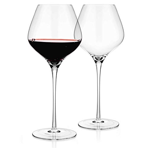 Luxbe - Crystal Wine Large Glasses 24-ounce, Set of 2 - Tall Red or White Wine Glasses - Lead-Free - Pinot Noir - Burgundy - Bordeaux - 720ml