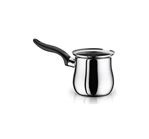 Türkische Kaffeekanne, kleiner Herd-Wärmer für Milch und Butter, Schmelztopf aus Edelstahl, V430-3 Schwarz