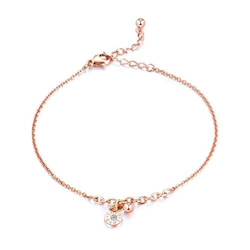 Damen Fußkettchen Rose Gold Edelstahl Fußkette mit Rose Anhänger Sommer Strand FußSchmuck für Frauen Mädchen (Römische Ziffern)