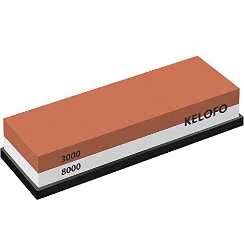 Pietra per Affilare Grana 3000 8000, KELOFO 2-in-1 Pietra Affilacoltelli Professionale con Base in Antiscivolo