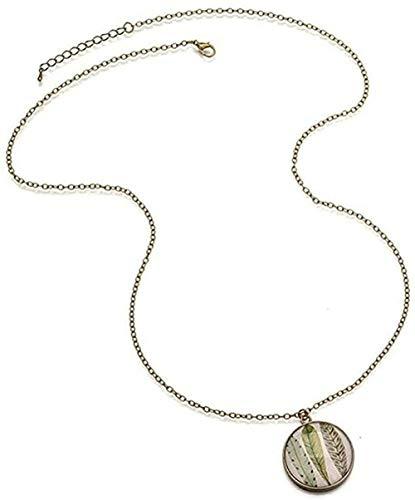 LBBYMX Co.,ltd Collar de Moda pequeño Fresco Tres Plumas Tiempo Colgante de Piedras Preciosas Collar Largo suéter Cadena Chica joyería Moda