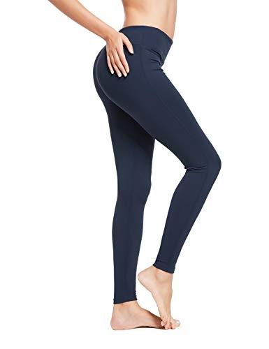 BALEAF Women's Ankle Legging Athletic Yoga Hiking Workout Running Pants Inner Pocket Non See-Through Dark Blue Size L