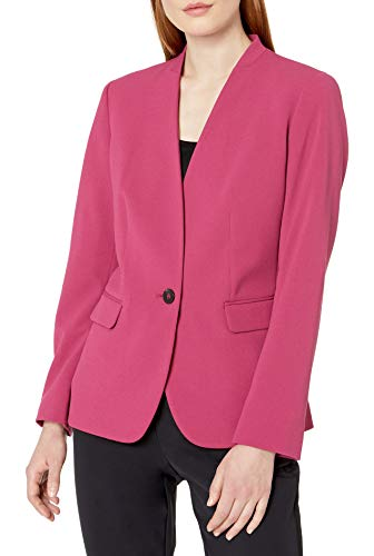NINE WEST Women's Plus Size 1 Button Stand Collar Drapey Crepe Jacket, Terra Rose, 16W