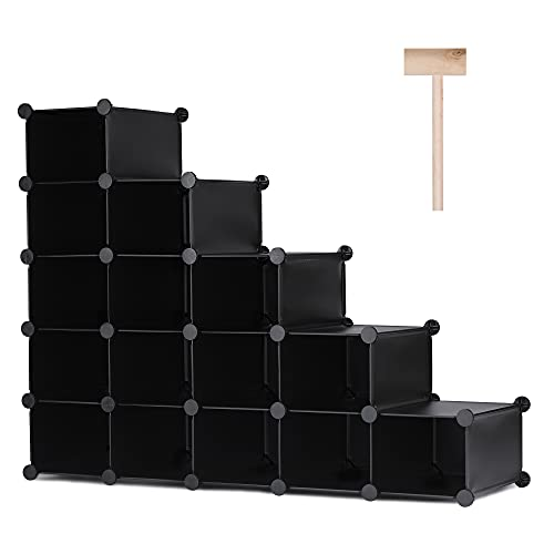 Puroma 15-Cube Stackable Shoe Organizer Plastic Shoe Storage Rack Durable Modular Shoe Cabinet,...
