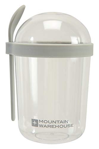 Mountain Warehouse Granola Pot with Spoon - Practical, Compact, Durable Plastic, Dishwasher Safe - Best for Work from Home Breakfast Gris Taille Unique