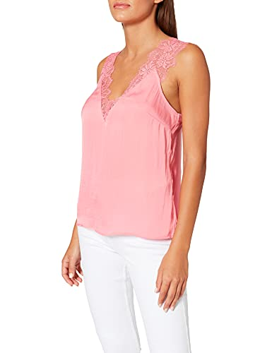 Morgan Blouse Bretelles Larges en Dentelle Orla Camiseta, Bubble Gum, 40 para Mujer
