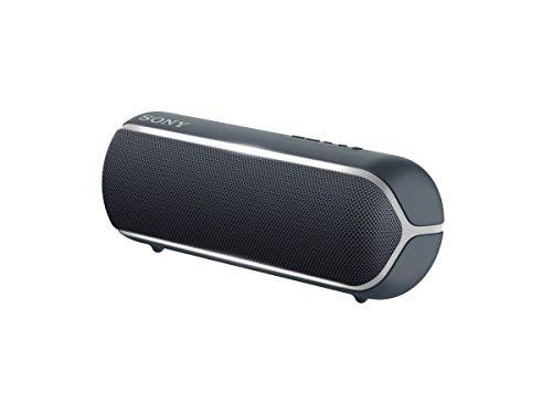 Sony SRS-XB22 kabelloser Bluetooth Lautsprecher (tragbar, farbige Lichtleiste, Extra Bass, Bluetooth, NFC, wasserabweisend, kompatibel mit Party Chain, Freisprechfunktion für Anrufe) schwarz