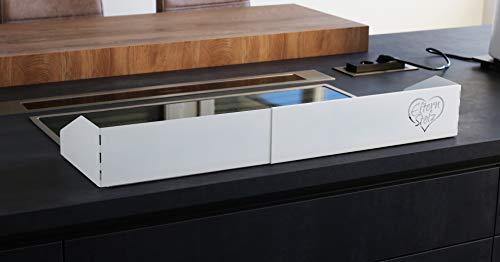 Elternstolz Rejilla de protección de cocina XXL de metal, color blanco, ajustable hasta 90 cm, también para 80 cm, sin necesidad de taladrar, protección infantil
