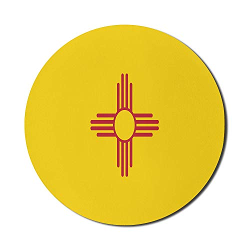 New Mexico Mouse Pad für Computer, einfaches Muster des US-Bundesstaates Mexikanische Flagge Iconic Nationality Concept, Runde rutschfeste dicke Gummi Modern Gaming Mousepad, 8 'rund, Himbeergelb