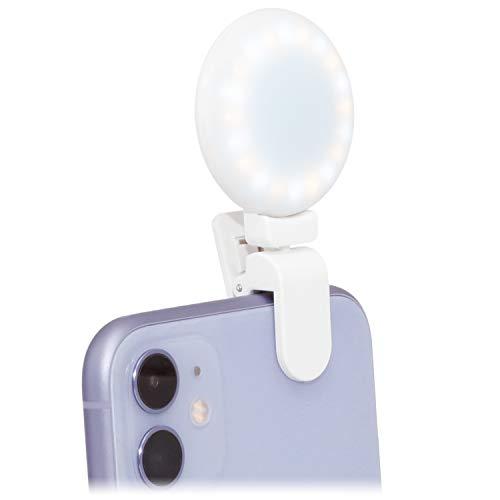 WOWLED Selfie anillo luz clip encendido para teléfono celular 3 temperatura de color recargable mini círculo LED anillo luz negro