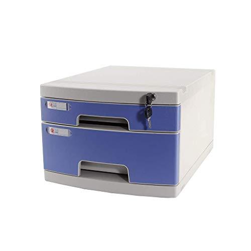 LHQ-HQ Plastische, kosmetische Drawer Schreibtisch, Schrank Organizer abschließbare Schublade Sorter A4 Box for Büro (3-Ebenen-Größe: 11.8in * 15.8in * 13in) (Größe: 2-lagig) Zeitungsständer