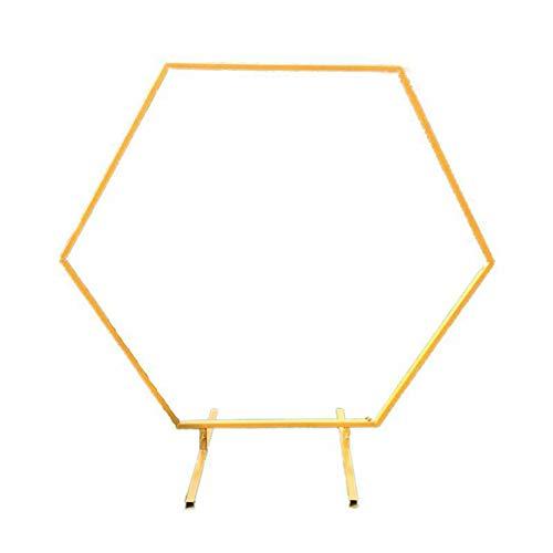 SULUO Fondo de Arco de Boda, Arco Hexagonal de Hierro para decoración de Bodas Estante de Arco de Oro Blanco Fondo de Boda Escenario de Fiesta Soporte de Flores Arco de Diamante Forjado,Oro,1.2M