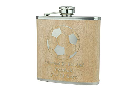 Married To You And Football for 15 Years - 15th Anniversary Hip Flask